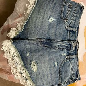 Free People Lace Trim Denim Short